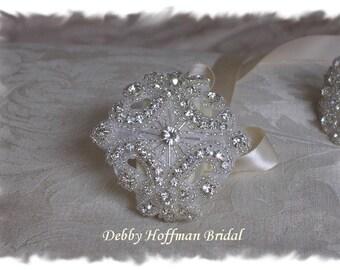 Rhinestone Crystal Bridal Cuff Bracelet, Wedding Bracelet, Jeweled Wedding Cuff Bracelet, Bridesmaid Bracelet, Bridal Party Gift, No. 1161CB