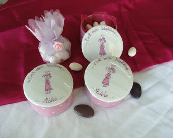 3 boxes dragées or porcelain jewelry, personalized baptism, Godfather, godmother and baby.