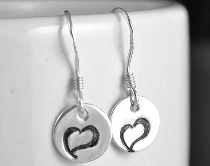 Initial earrings, hand stamped earring, sterling silver earrings, personalized earring, alphabet earring, stud earring, name earring, letter