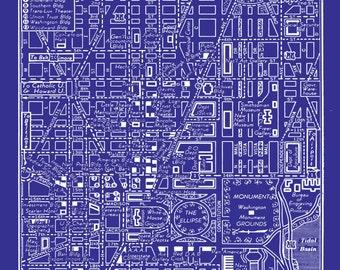 1949 Vintage Map of Downtown Washington DC Blueprint Map Print Poster