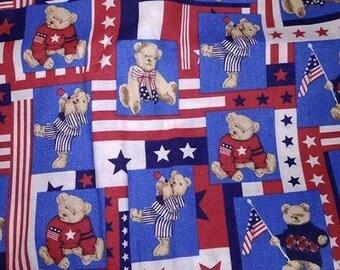 USA Stars & Stripes Bears Cotton Fabric