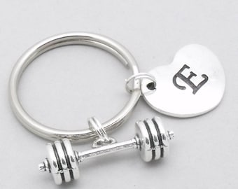 Barbell keychain | barbell keyring | dumbbell keychain | dumbbell keyring | weight lifting | gym motivation | personalised gym gift