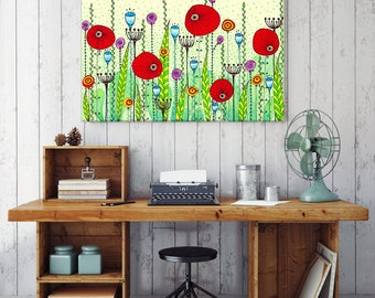"SALE! Large Poppy Meadow Art Print 24""x34"""