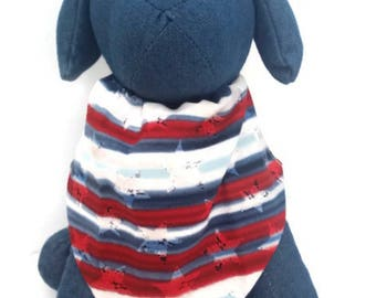American paw dog collar insert scarf- 4th of July- red -white and blue-dog bandanna