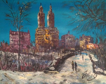 Central Park in Snow, NYC-Pen King-A1425