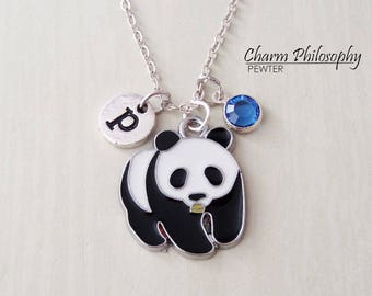 Panda Bear Necklace - Panda Jewelry - Monogram Personalized Initial and Birthstone