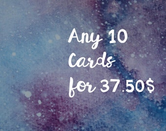 Greeting cards, 10 cards for 37.50,  10 cartes pour 37.50, pick your own cards, pack of 10 cards, choose your own cards