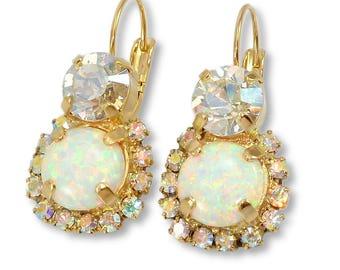 Opal Earrings, Opal Dangle Earrings, Wedding, bridesmaid Gift, Bridal Jewelry,Swarovski Crystal Earrings,Gold Earrings, White drop Earrings.