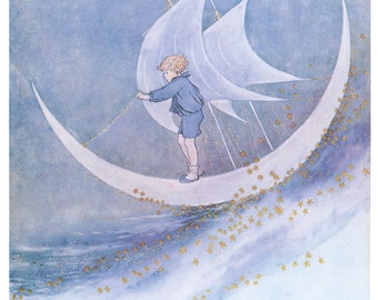 Hand-cut wooden jigsaw puzzle. FAIRY BOY & MOONBOAT. Outhwaite. Fairytale gift. Wood, collectible. Bella Puzzles.
