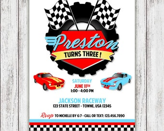 Race Car Party Invitations - Checkered Flag Invites - PRINT & SHIP or DIGITAL