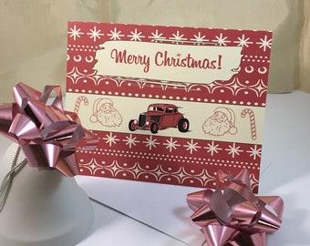 Retro Christmas Card, Mid Century Modern, Vintage Inspired Season's Greetings Card 'AMERICAN HOT ROD' Set of 10