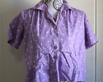 Vintage 40s novelty print cotton blouse