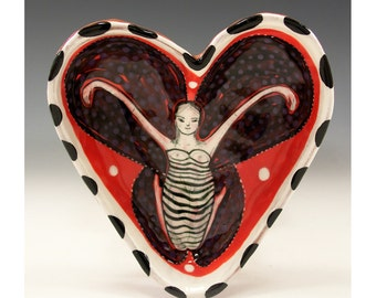 A Be Mine Valentine - Valentines Bowl - Original One of a Kind Painting by Jenny Mendes in a Ceramic Pinched Heart Bowl