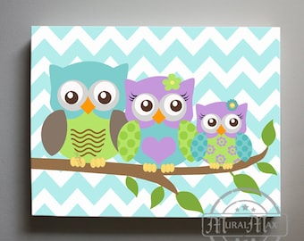 Girls wall art - Owl canvas art - Purple and Aqua Nursery - Owl Childrens Art - Owl Family Nursery wall art