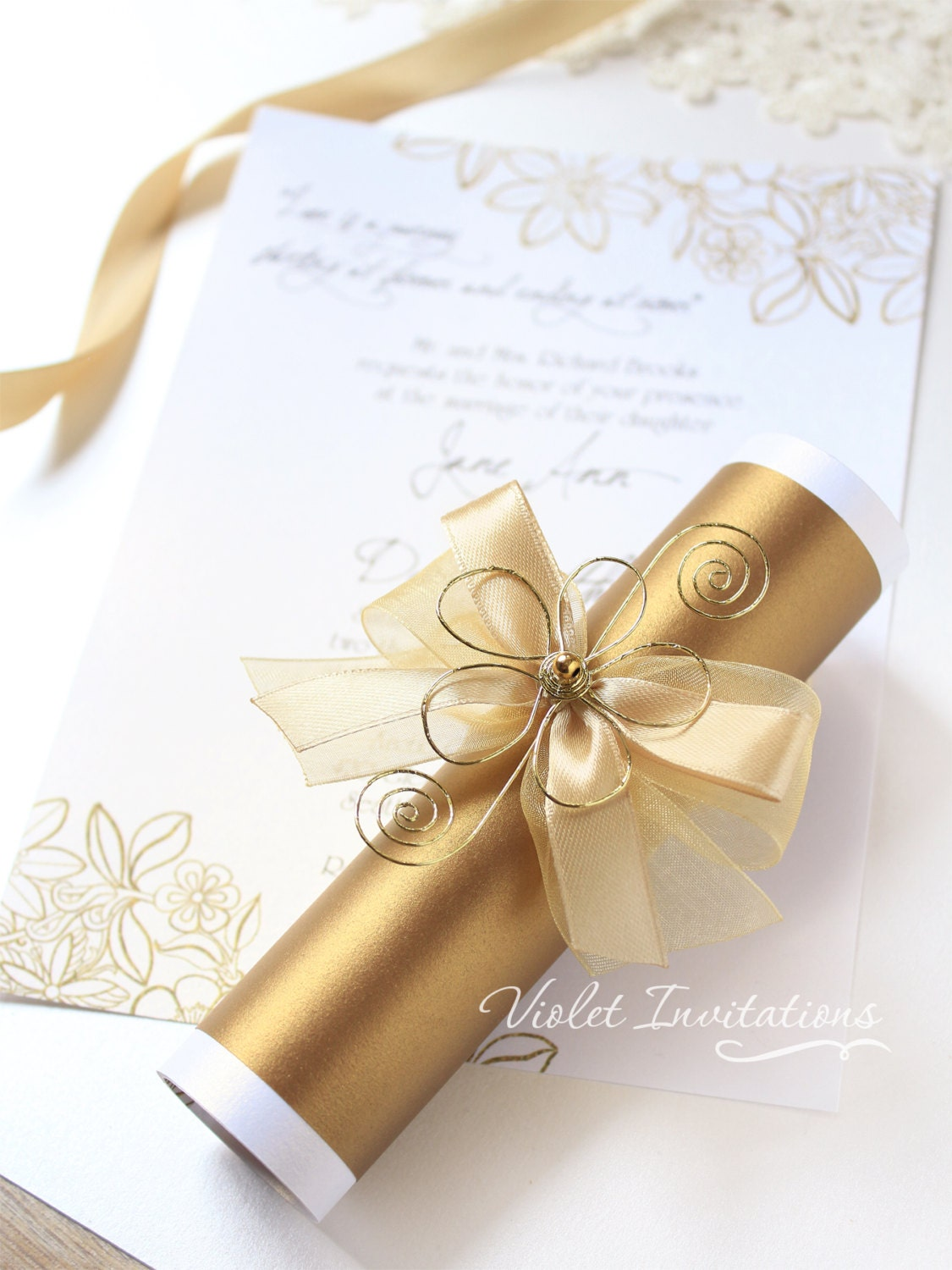 10 Handmade Gold Flower Scroll Invitations Wedding Invitation