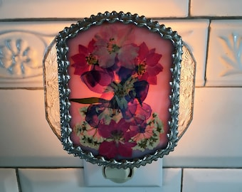 Stained Glass|Nightlight|Bridal Wreath|Delphinium|Larkspur|Pressed Flowers|OOAK|Lighting|Night Lights|Handcrafted|Made in USA