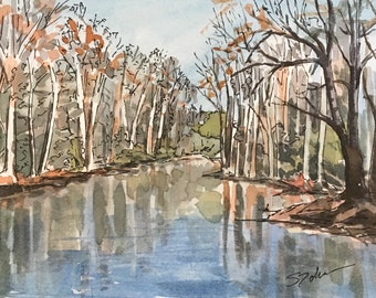 River Landscape Small Watercolor Reflection Painting Postcard