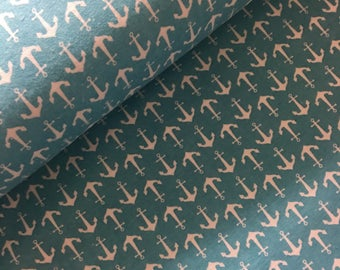 Flannel teal  Anchor fabric - nautical fabric - anchor fabric - material - sewing -supply notion - bty - 1yard