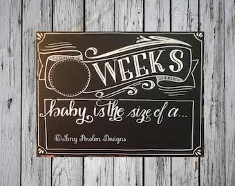 Reusable Weekly Pregnancy Countdown Chalkboard/Photo prop