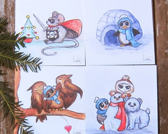 Christmas Cards multipack of 4, Watercolour Illustration, Cute Christmas cards, Animal Christmas Cards, Illustrated Cards, Cute Cards