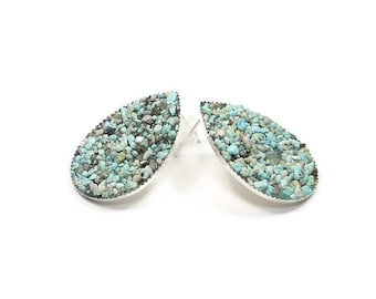 XL Crushed Turquoise Teardrop Stud Earrings Silver Tone Earrings
