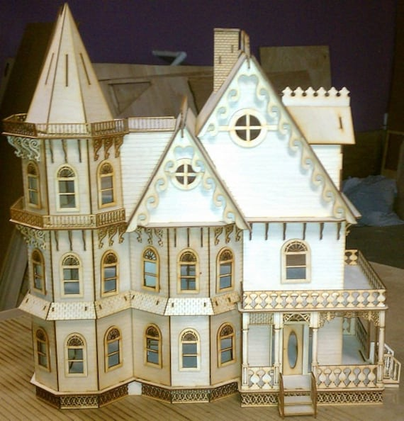Leon gothic victorian mansion dollhouse half inch scale kit for Victorian kit homes