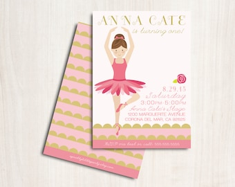 Ballerina Birthday Invite - Customized Ballet Party Invitation - Dance - Party Supplies