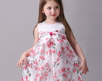 Smiley Oli - Casual Pink Floral Toddler Preschooler Girl's Cute Bow Dress (Ages 3 - 5)
