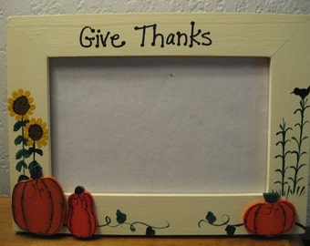 Thanksgiving Frame - Give Thanks - Fall family photo picture frame