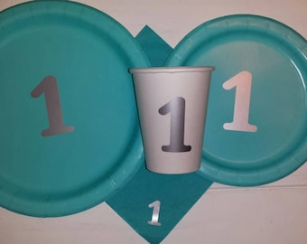 One party plates, cups, napkins, first birthday plates, cups, napkins, teal and silver birthday, 1st birthday, prince or princess birthday