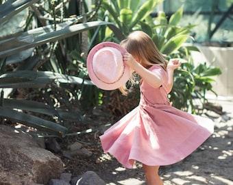 Linen Dress Girl, Linen Dress, Toddler Girl Dress, Classic Dress, Linen Dress Girls, Dusty Rose Dress, Dusty Rose Linen, Peter Pan Collar