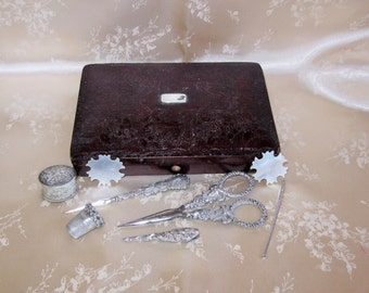 Antique Solid Silver Sewing Set in Fitted Box Etui-Serpent Scissors & Sheath-Thimble-Thread Waxer-Bodkin-Awl-M.O.P. Thread Winders