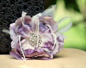 Wedding Pin, Hair Clip, Comb Amethyst Purple Flower. Big Day Fascinator, Bride Bridesmaid, Bridal Floral Fashion, Teen Rhinestone Statement