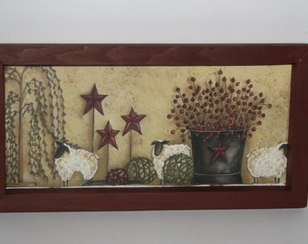 Bucket Berries Lamb Willow Tree Star 6 Inch X 12 Inch Primitive Country Wall  Decor