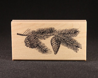 "Pine Bough with Cones Rubber Art Stamp (4"" x 1.5"")"