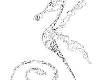 SALE-Black and White Sea Horse-Original Drawing-sea life-coastal-pen and ink-fish art-art fish-beach house-modern-sea dragon-sea life-condo
