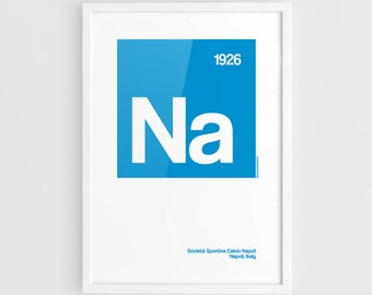 Napoli SSC Football Elements Poster - A3 Wall Art Typography Print Poster, Minimalist Poster, Football Poster, Soccer Poster