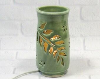 Mood Lighting - Ambiance Lighting - Ceramic Night Light - Pottery Lamp - Green Table Lamp - Decorative Lamp - Romantic Lighting - Lantern