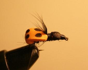Ladybug Fly Fishing Flies - Orange Foam Ladybug Fishing Fly on Number 10 Hook.