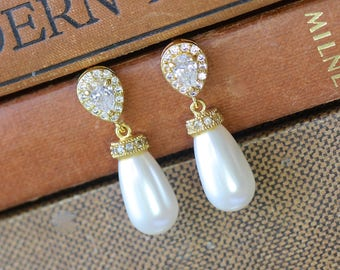Gold Bridal Earrings, Pearl Drop Earrings, Pearl Bridal Earrings, Ivory Pearl Earrings, Silver Earrings, AUDREY 2G
