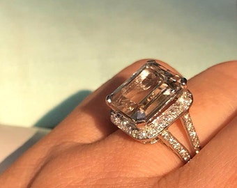 Citrine & cz silver white goldplated 14ct engagement ring