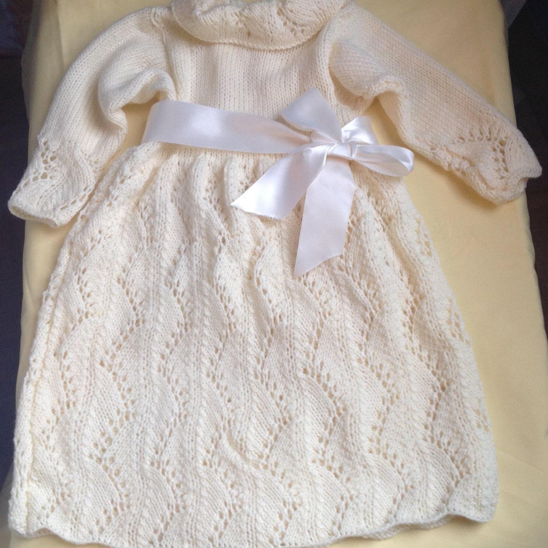 christening dress knit baby dress ivory knit baby dress