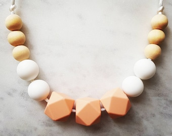 "FREE SHIPPING AU Silicone and Wood Necklace ""Sophia Peach White"" (was teething), nursing necklace, baby sensory"