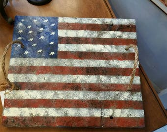 Hand painted on antique Vermont roofing slate American flag tray with rope handles.  Inv# 714.