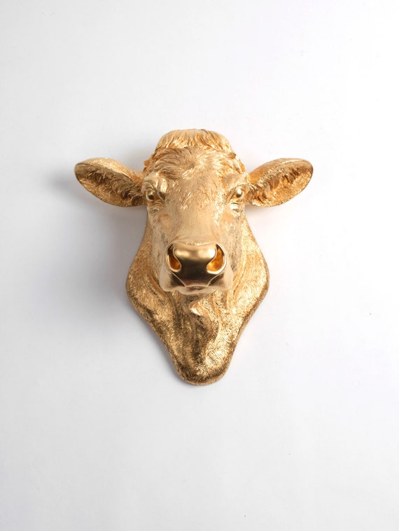 Cow Head Decor By White Faux Taxidermy The Bessie In Gold