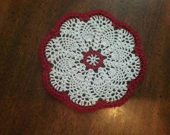 6 inch Christmas red and white doily