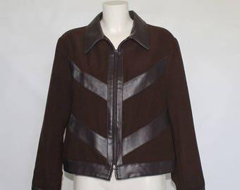 80s/90s • Vintage • Brown Jacket • Fake leather contrast Jacket • Blazer • Brown Vintage Blazer • Brown Women's Jacket • Brown Blazer