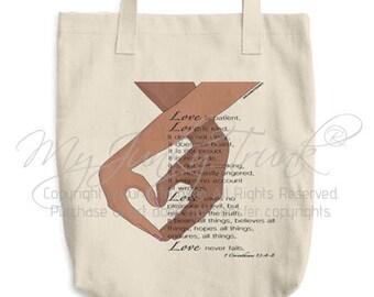 Love Never Fails- Black Couple Canvas Tote Bag