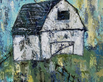 """Barn canvas, painting, abstract art, 3/4"""" thick canvas print"""
