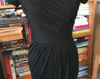 50's/60's Fitted Little Black Dress with Pleated/Ruched Details